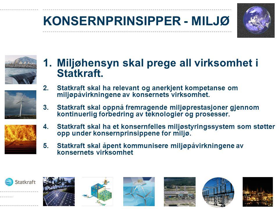 KONSERNPRINSIPPER - MILJØ 1.Miljøhensyn skal prege all virksomhet i Statkraft. 2.Statkraft skal ha relevant og anerkjent kompetanse om miljøpåvirkning
