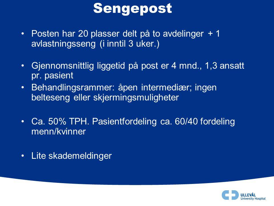 Sengepost •Posten har 20 plasser delt på to avdelinger + 1 avlastningsseng (i inntil 3 uker.) •Gjennomsnittlig liggetid på post er 4 mnd., 1,3 ansatt