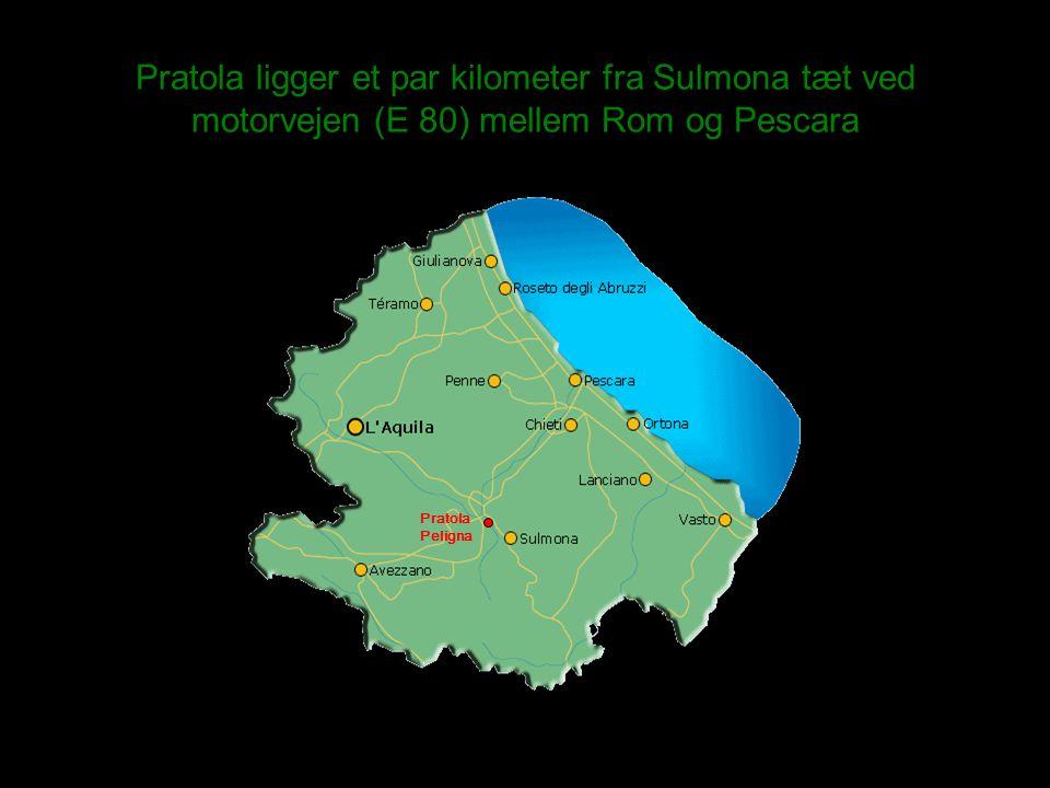 Pratola ligger et par kilometer fra Sulmona tæt ved motorvejen (E 80) mellem Rom og Pescara Pratola Peligna
