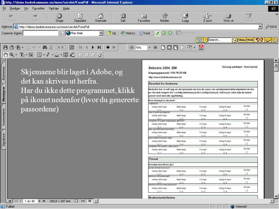 Skjemaene blir laget i Adobe, og det kan skrives ut herfra. Har du ikke dette programmet, klikk på ikonet nedenfor (hvor du genererte passordene)