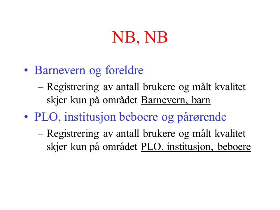 NB, NB •Barnevern og foreldre –Registrering av antall brukere og målt kvalitet skjer kun på området Barnevern, barn •PLO, institusjon beboere og pårør