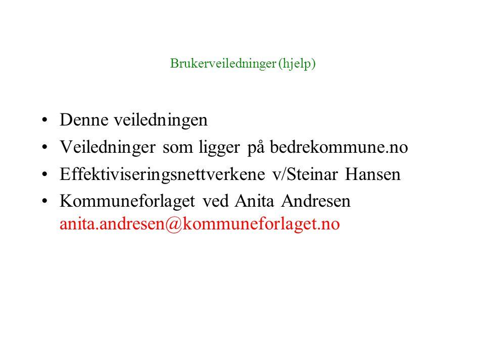 Brukerveiledninger (hjelp) •Denne veiledningen •Veiledninger som ligger på bedrekommune.no •Effektiviseringsnettverkene v/Steinar Hansen •Kommuneforlaget ved Anita Andresen anita.andresen@kommuneforlaget.no