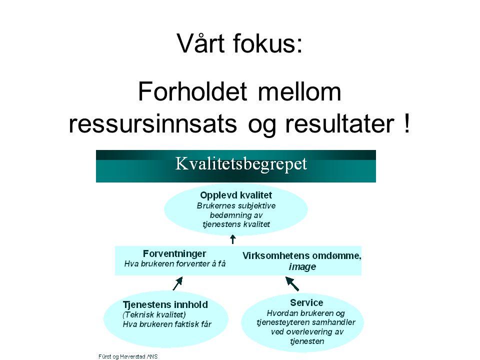 Vårt fokus: Forholdet mellom ressursinnsats og resultater !