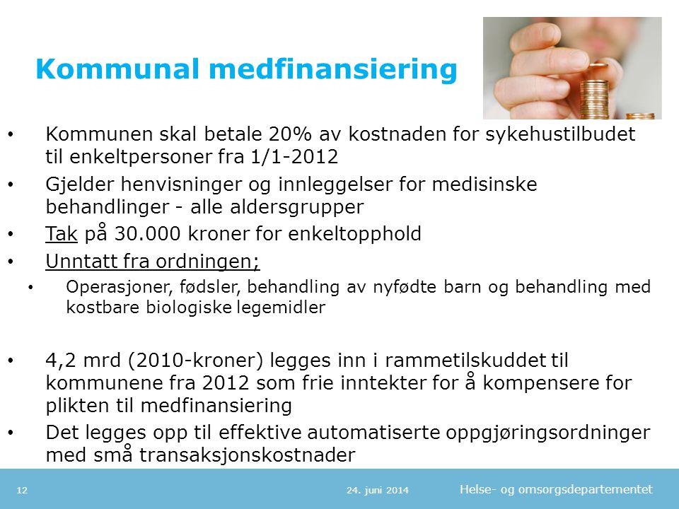 Helse- og omsorgsdepartementet Kommunal medfinansiering • Kommunen skal betale 20% av kostnaden for sykehustilbudet til enkeltpersoner fra 1/1-2012 •