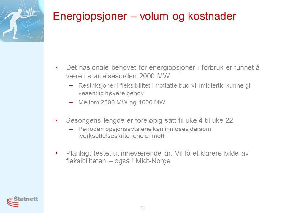 16 •Det nasjonale behovet for energiopsjoner i forbruk er funnet å være i størrelsesorden 2000 MW –Restriksjoner i fleksibilitet i mottatte bud vil imidlertid kunne gi vesentlig høyere behov –Mellom 2000 MW og 4000 MW •Sesongens lengde er foreløpig satt til uke 4 til uke 22 –Perioden opsjonsavtalene kan innløses dersom iverksettelseskriteriene er møtt •Planlagt testet ut inneværende år.