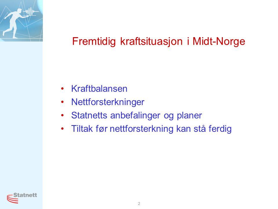 2 Fremtidig kraftsituasjon i Midt-Norge •Kraftbalansen •Nettforsterkninger •Statnetts anbefalinger og planer •Tiltak før nettforsterkning kan stå ferd