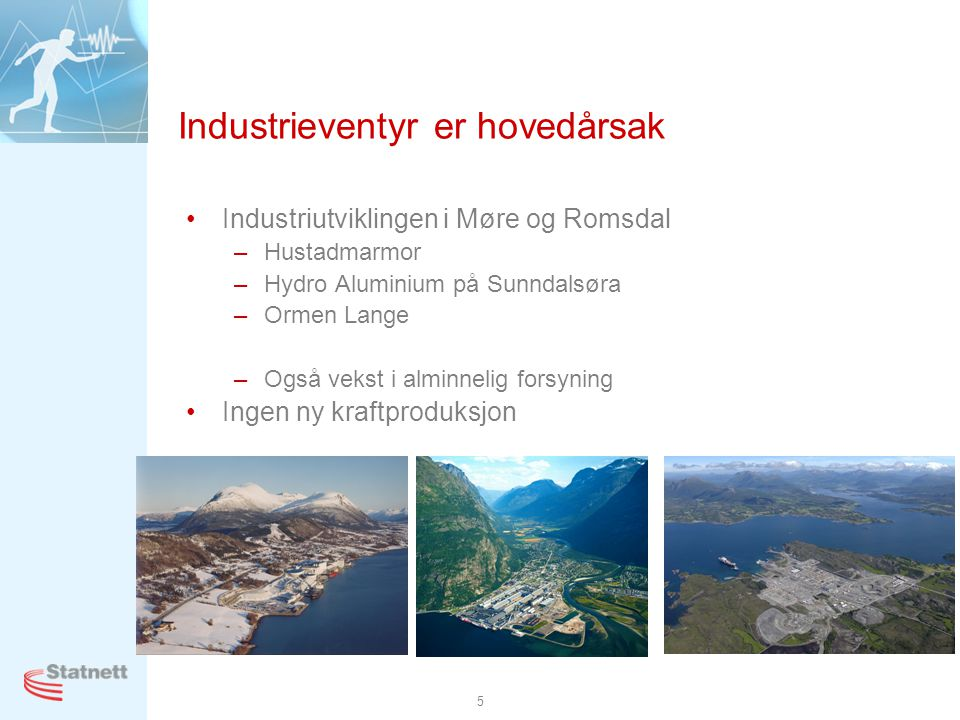 5 Industrieventyr er hovedårsak •Industriutviklingen i Møre og Romsdal –Hustadmarmor –Hydro Aluminium på Sunndalsøra –Ormen Lange –Også vekst i alminnelig forsyning •Ingen ny kraftproduksjon