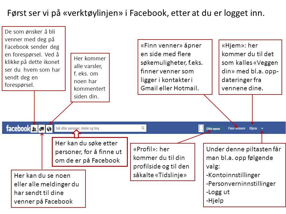 Først ser vi på «verktøylinjen» i Facebook, etter at du er logget inn. De som ønsker å bli venner med deg på Facebook sender deg en forespørsel. Ved å