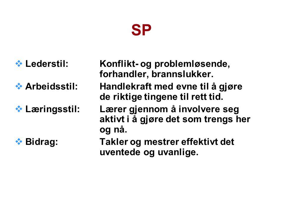 SP  Lederstil:Konflikt- og problemløsende, forhandler, brannslukker.