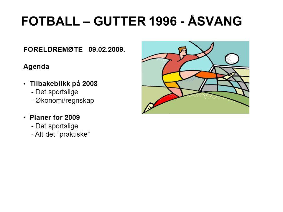 FOTBALL – GUTTER 1996 - ÅSVANG FORELDREMØTE 09.02.2009. Agenda • Tilbakeblikk på 2008 - Det sportslige - Økonomi/regnskap • Planer for 2009 - Det spor