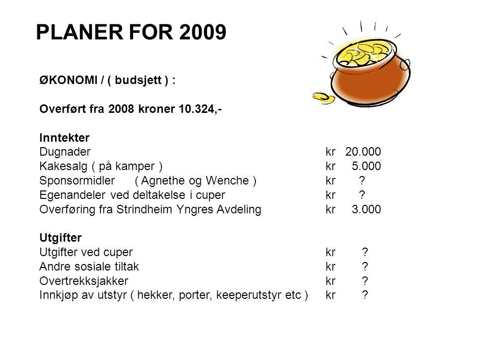 PLANER FOR 2009 ØKONOMI / ( budsjett ) : Overført fra 2008 kroner 10.324,- Inntekter Dugnaderkr 20.000 Kakesalg ( på kamper )kr 5.000 Sponsormidler( A