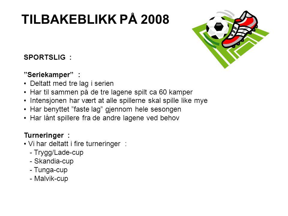 """TILBAKEBLIKK PÅ 2008 SPORTSLIG : """"Seriekamper"""" : • Deltatt med tre lag i serien • Har til sammen på de tre lagene spilt ca 60 kamper • Intensjonen har"""