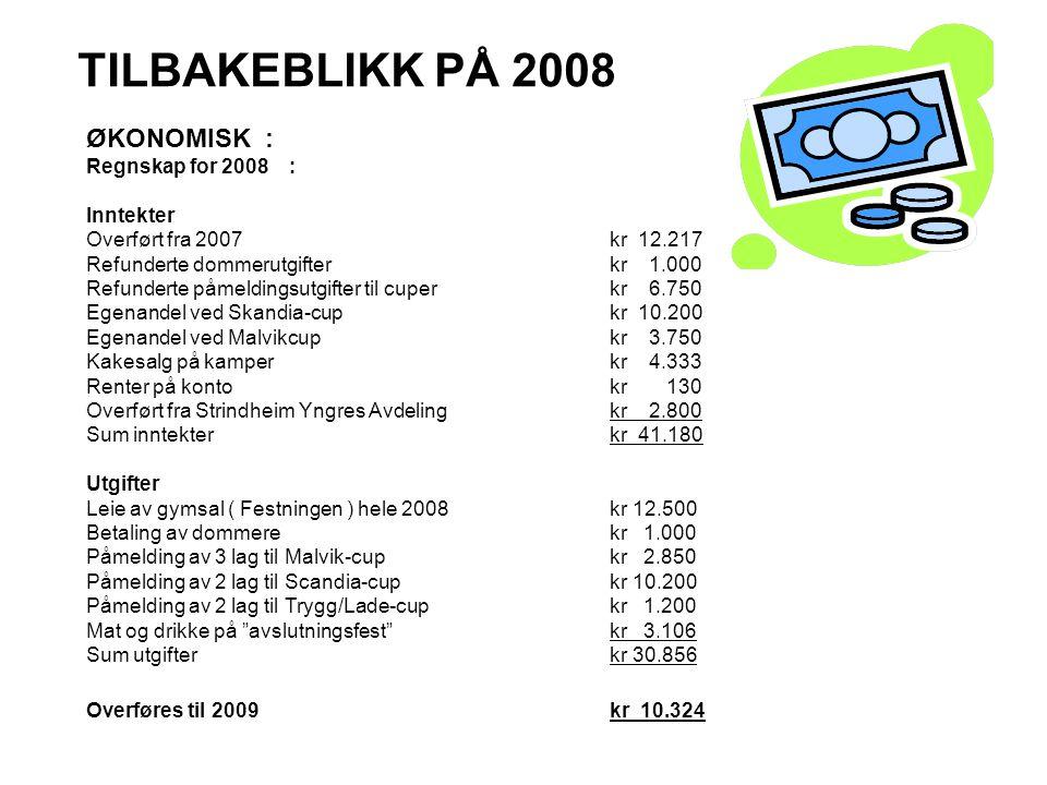 TILBAKEBLIKK PÅ 2008 ØKONOMISK : Regnskap for 2008 : Inntekter Overført fra 2007kr 12.217 Refunderte dommerutgifter kr 1.000 Refunderte påmeldingsutgi