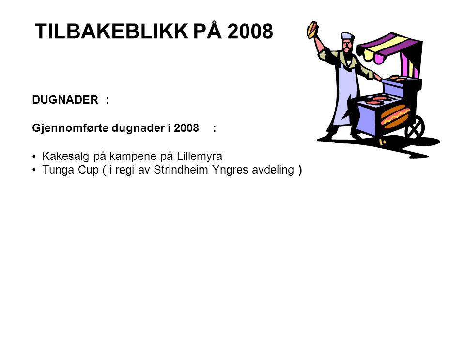 TILBAKEBLIKK PÅ 2008 DUGNADER : Gjennomførte dugnader i 2008 : • Kakesalg på kampene på Lillemyra • Tunga Cup ( i regi av Strindheim Yngres avdeling )