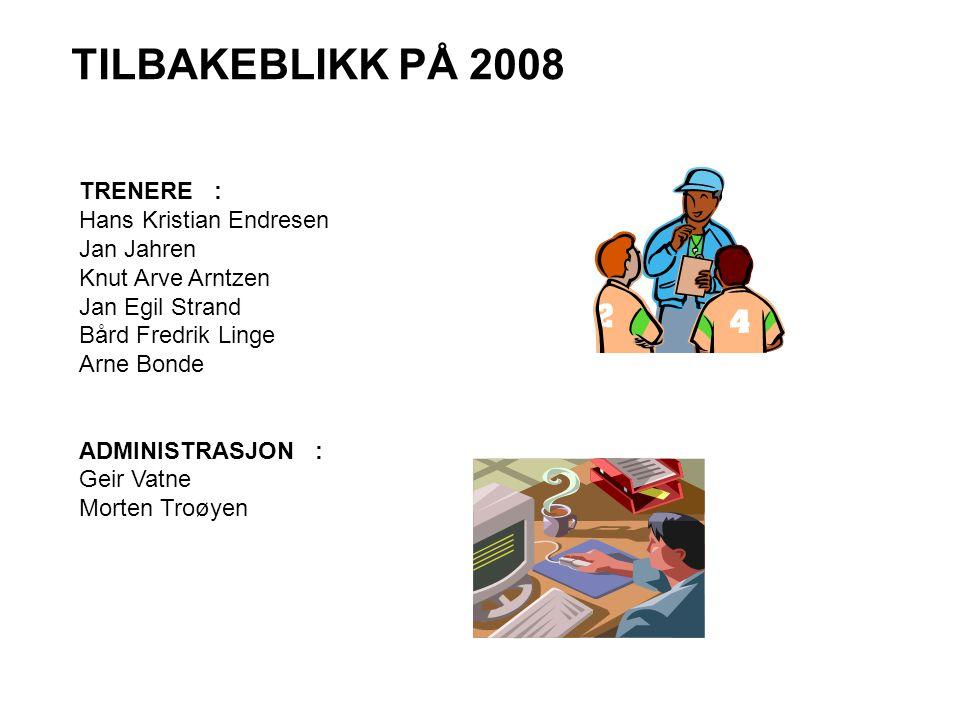 TILBAKEBLIKK PÅ 2008 TRENERE : Hans Kristian Endresen Jan Jahren Knut Arve Arntzen Jan Egil Strand Bård Fredrik Linge Arne Bonde ADMINISTRASJON : Geir