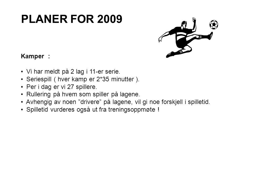 PLANER FOR 2009 Kamper : • Vi har meldt på 2 lag i 11-er serie. • Seriespill ( hver kamp er 2*35 minutter ). • Per i dag er vi 27 spillere. • Rullerin