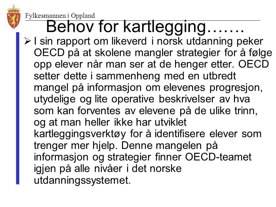 Fylkesmannen i Oppland Behov for kartlegging…….  I sin rapport om likeverd i norsk utdanning peker OECD på at skolene mangler strategier for å følge