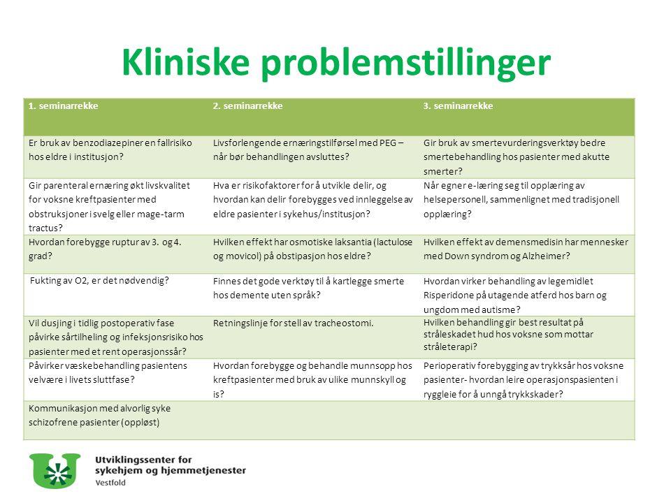 Kliniske problemstillinger 1. seminarrekke2. seminarrekke3. seminarrekke Er bruk av benzodiazepiner en fallrisiko hos eldre i institusjon? Livsforleng