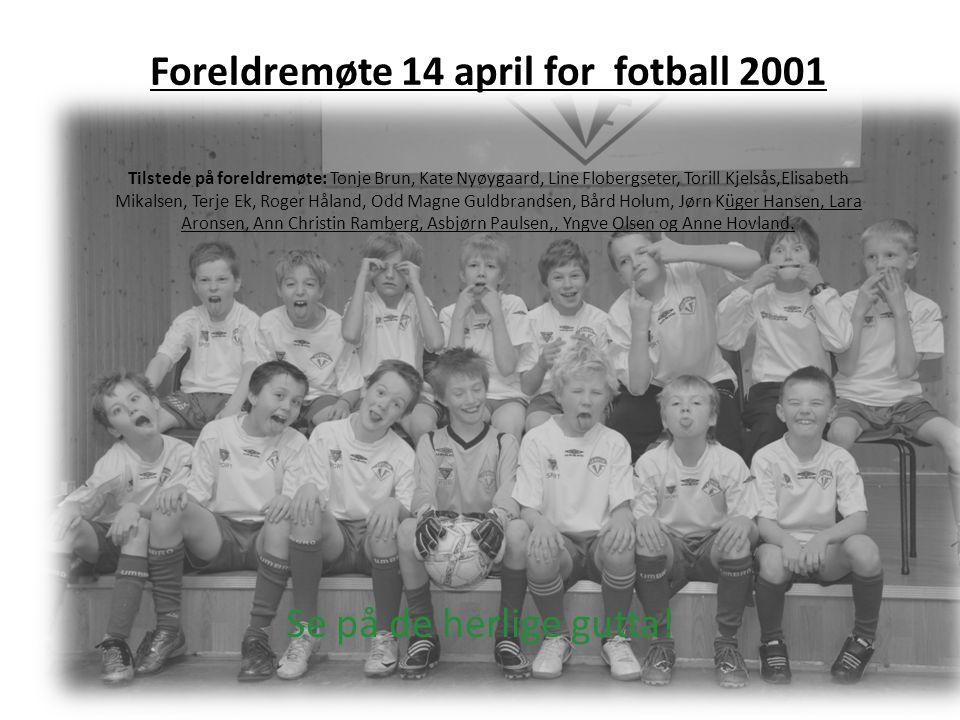 Foreldremøte 14 april for fotball 2001 Tilstede på foreldremøte: Tonje Brun, Kate Nyøygaard, Line Flobergseter, Torill Kjelsås,Elisabeth Mikalsen, Ter