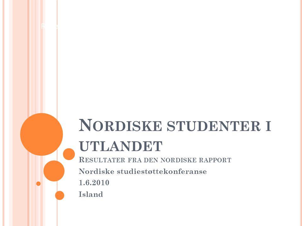 Research Department N ORDISKE STUDENTER I UTLANDET R ESULTATER FRA DEN NORDISKE RAPPORT Nordiske studiestøttekonferanse 1.6.2010 Island
