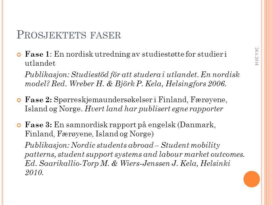 Research Department P ROSJEKTETS FASER Fase 1 : En nordisk utredning av studiestøtte for studier i utlandet Publikasjon: Studiestöd för att studera i utlandet.