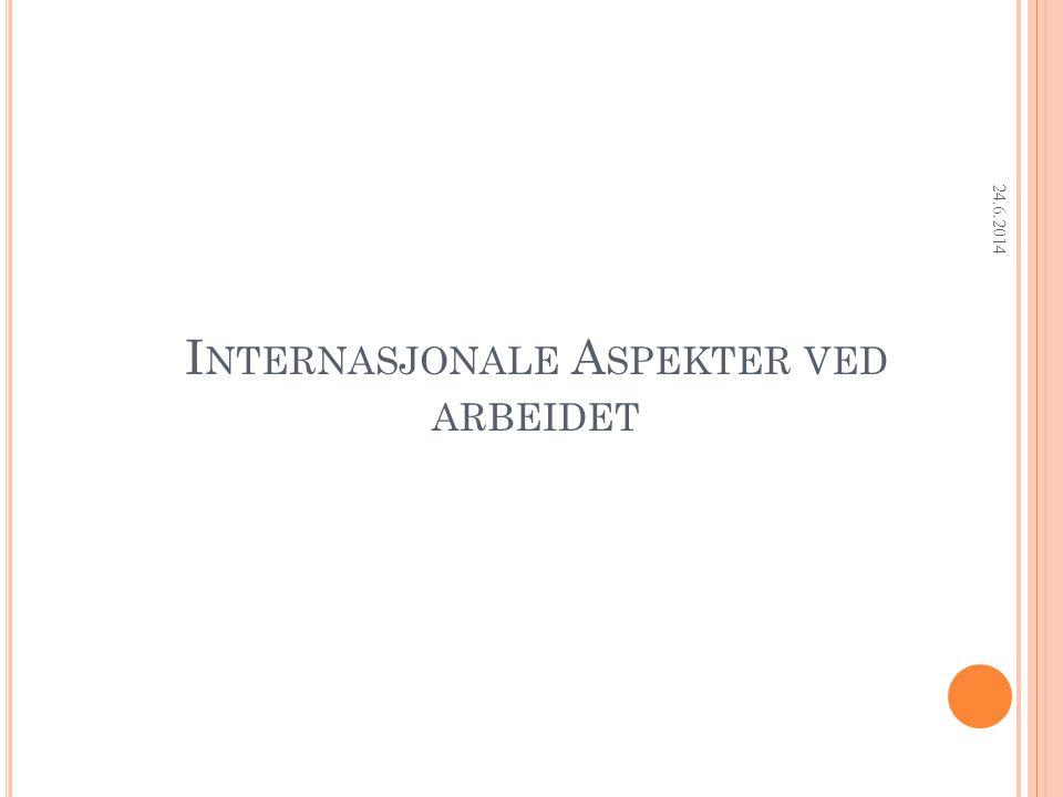 Research Department I NTERNASJONALE A SPEKTER VED ARBEIDET 24.6.2014