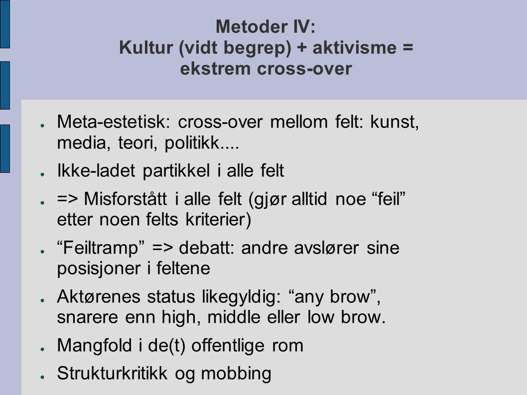 Metoder IV: Kultur (vidt begrep) + aktivisme = ekstrem cross-over ● Meta-estetisk: cross-over mellom felt: kunst, media, teori, politikk.... ● Ikke-la