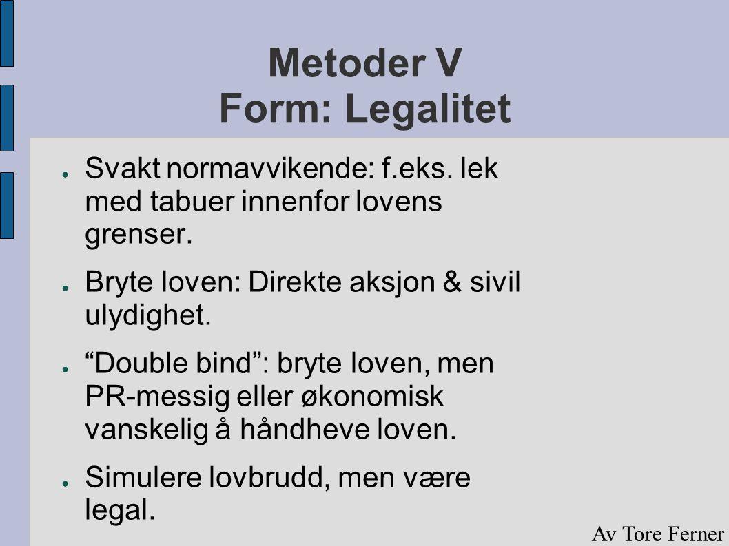 """Metoder V Form: Legalitet ● Svakt normavvikende: f.eks. lek med tabuer innenfor lovens grenser. ● Bryte loven: Direkte aksjon & sivil ulydighet. ● """"Do"""