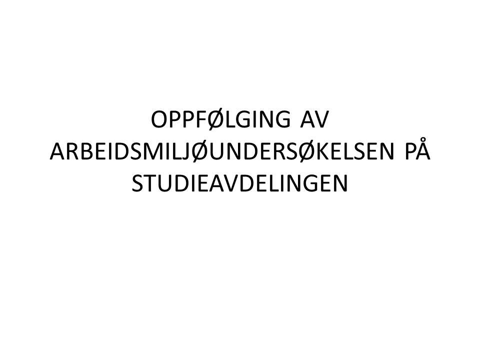 OPPFØLGING AV ARBEIDSMILJØUNDERSØKELSEN PÅ STUDIEAVDELINGEN