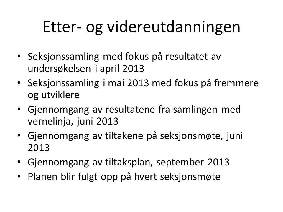 Etter- og videreutdanningen • Seksjonssamling med fokus på resultatet av undersøkelsen i april 2013 • Seksjonssamling i mai 2013 med fokus på fremmere