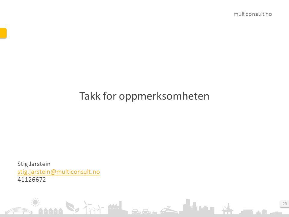 multiconsult.no 25 Takk for oppmerksomheten Stig Jarstein stig.jarstein@multiconsult.no 41126672