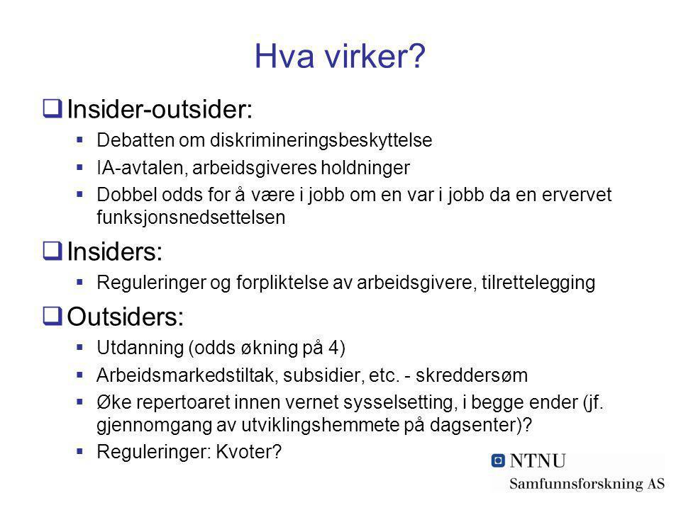 Hva virker?  Insider-outsider:  Debatten om diskrimineringsbeskyttelse  IA-avtalen, arbeidsgiveres holdninger  Dobbel odds for å være i jobb om en