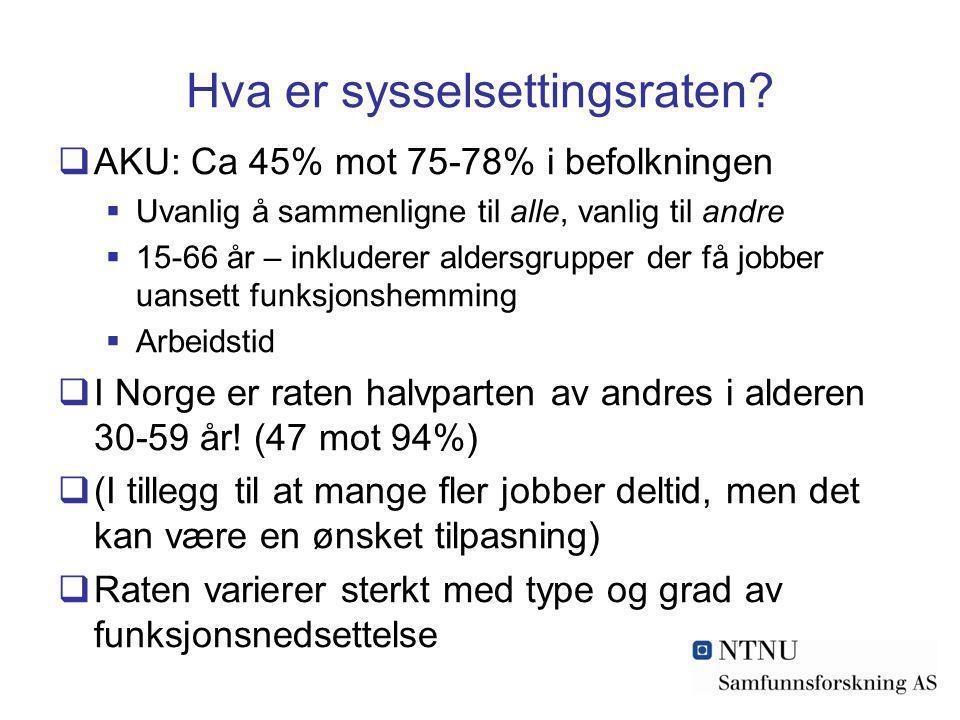 Hva er sysselsettingsraten?  AKU: Ca 45% mot 75-78% i befolkningen  Uvanlig å sammenligne til alle, vanlig til andre  15-66 år – inkluderer aldersg