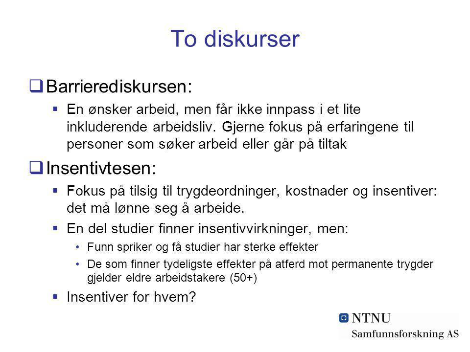 To diskurser  Barrierediskursen:  En ønsker arbeid, men får ikke innpass i et lite inkluderende arbeidsliv. Gjerne fokus på erfaringene til personer