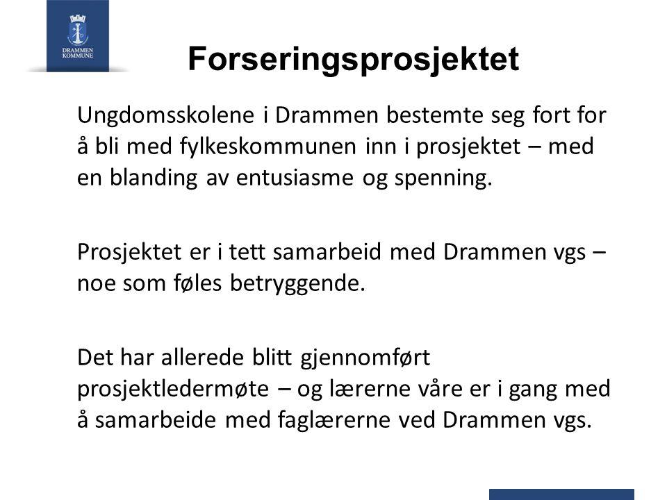 Forseringsprosjektet Ungdomsskolene i Drammen bestemte seg fort for å bli med fylkeskommunen inn i prosjektet – med en blanding av entusiasme og spenn