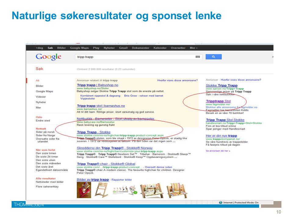Naturlige søkeresultater og sponset lenke 10