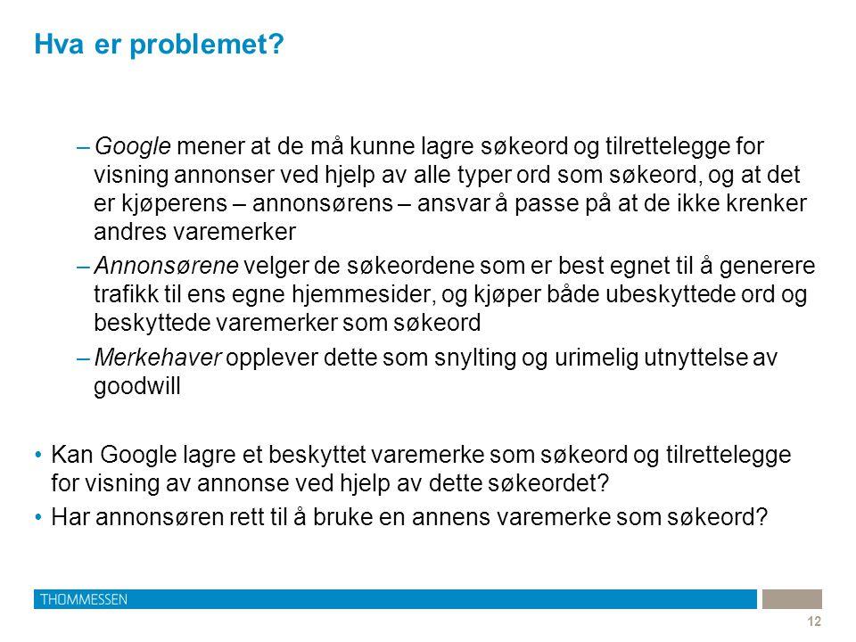 Hva er problemet? 12 –Google mener at de må kunne lagre søkeord og tilrettelegge for visning annonser ved hjelp av alle typer ord som søkeord, og at d