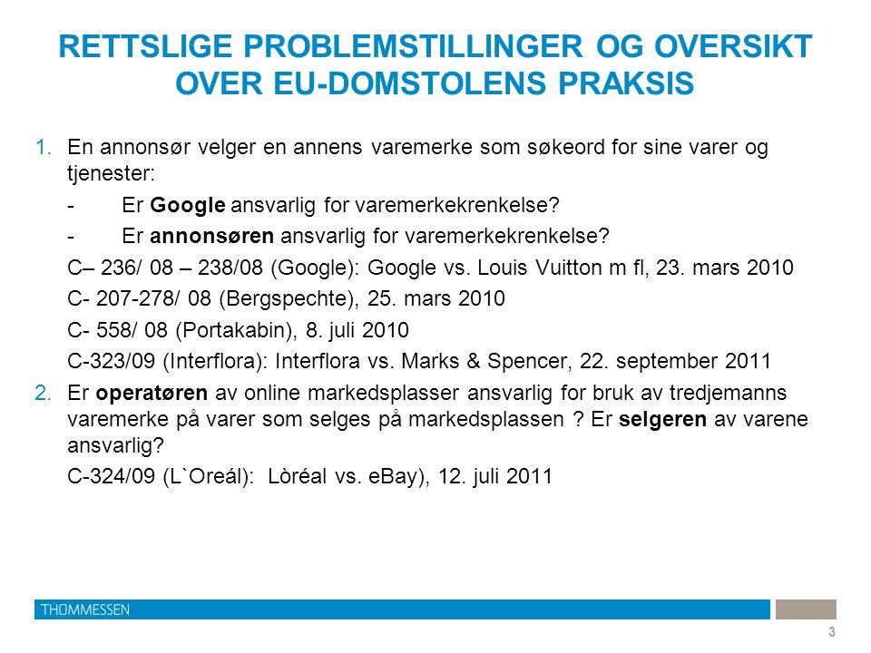 RETTSLIGE PROBLEMSTILLINGER OG OVERSIKT OVER EU-DOMSTOLENS PRAKSIS 3 1.En annonsør velger en annens varemerke som søkeord for sine varer og tjenester: