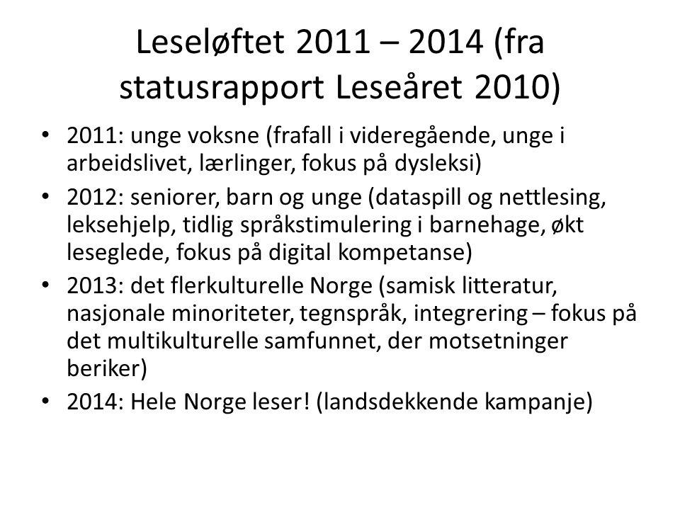 Leseløftet 2011 – 2014 (fra statusrapport Leseåret 2010) • 2011: unge voksne (frafall i videregående, unge i arbeidslivet, lærlinger, fokus på dysleks