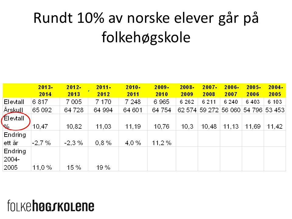 Rundt 10% av norske elever går på folkehøgskole