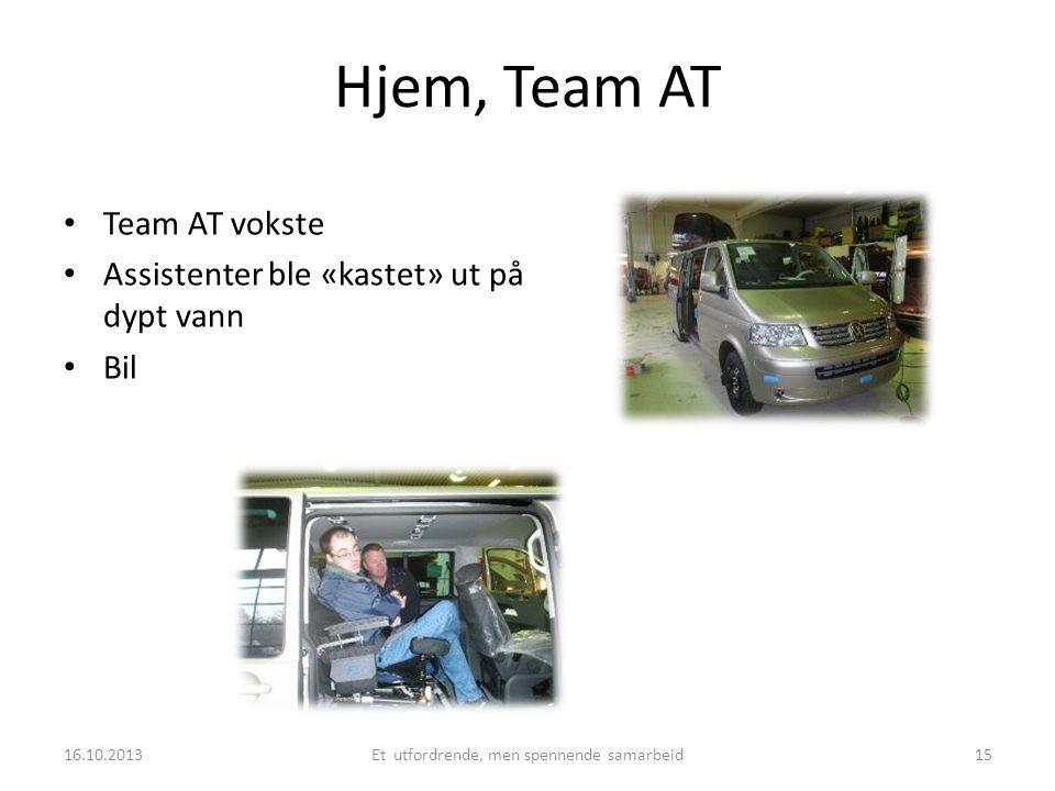 Hjem, Team AT • Team AT vokste • Assistenter ble «kastet» ut på dypt vann • Bil 16.10.2013Et utfordrende, men spennende samarbeid15