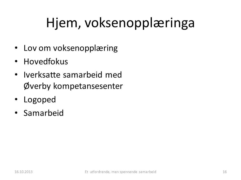 Hjem, voksenopplæringa • Lov om voksenopplæring • Hovedfokus • Iverksatte samarbeid med Øverby kompetansesenter • Logoped • Samarbeid 16.10.2013Et utf