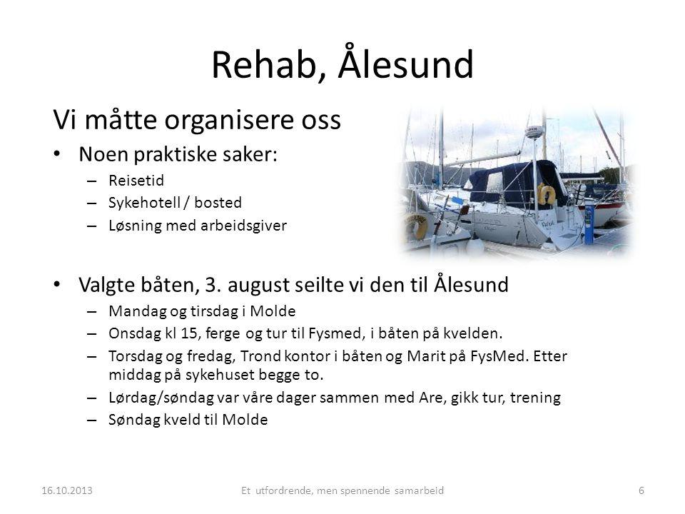 Rehab, Ålesund Vi måtte organisere oss • Noen praktiske saker: – Reisetid – Sykehotell / bosted – Løsning med arbeidsgiver • Valgte båten, 3. august s