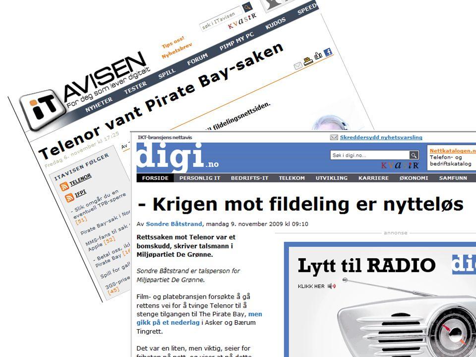 Programmer for fildeling • Vi kommer til å bruke: – BitTorrent – LimeWire – Songr • Utfordringer vi kan støte på: – Brannmurer som stanser trafikk – Falske filer – Pornografisk innhold