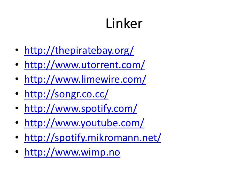 Linker • http://thepiratebay.org/ http://thepiratebay.org/ • http://www.utorrent.com/ http://www.utorrent.com/ • http://www.limewire.com/ http://www.limewire.com/ • http://songr.co.cc/ http://songr.co.cc/ • http://www.spotify.com/ http://www.spotify.com/ • http://www.youtube.com/ http://www.youtube.com/ • http://spotify.mikromann.net/ http://spotify.mikromann.net/ • http://www.wimp.no http://www.wimp.no