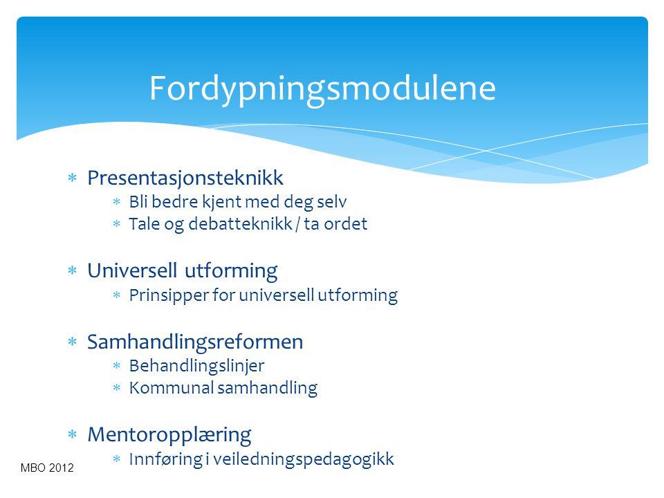Fordypningsmodulene  Presentasjonsteknikk  Bli bedre kjent med deg selv  Tale og debatteknikk / ta ordet  Universell utforming  Prinsipper for un