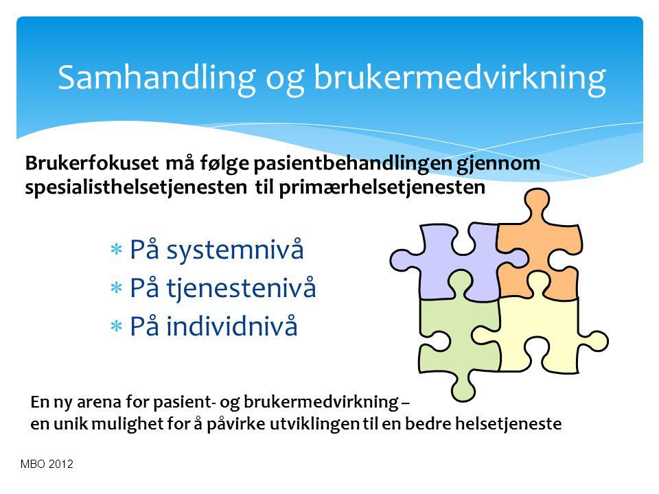 Samhandling og brukermedvirkning  På systemnivå  På tjenestenivå  På individnivå Brukerfokuset må følge pasientbehandlingen gjennom spesialisthelse