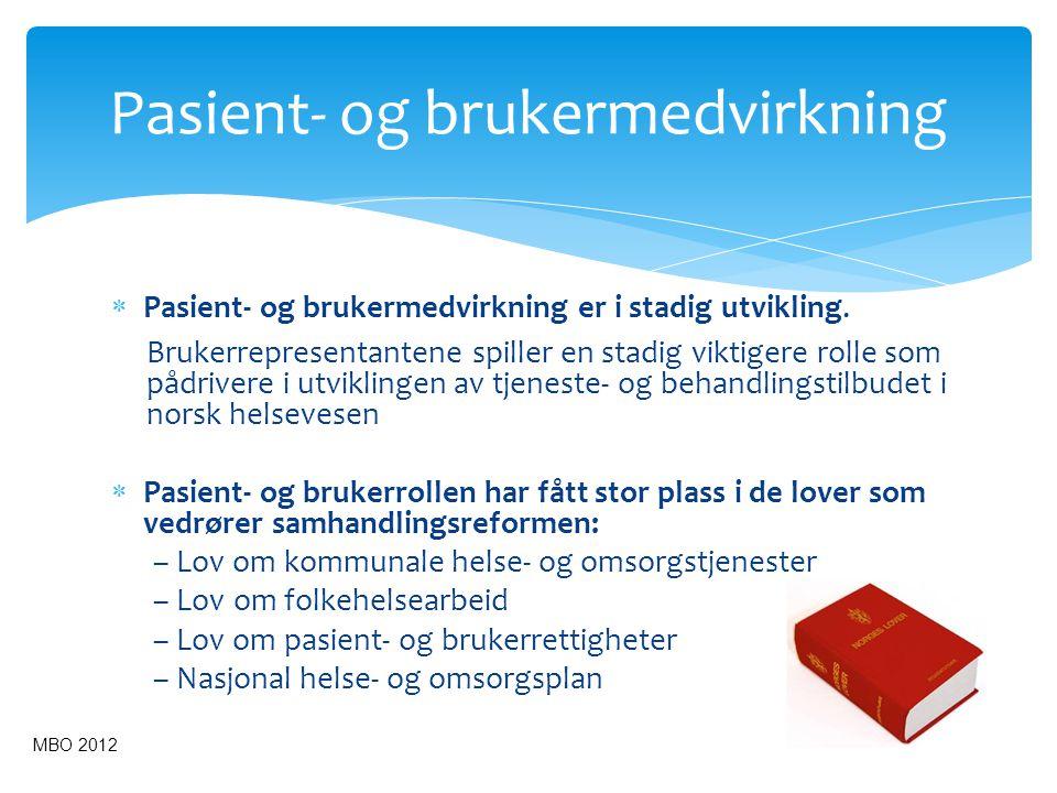  Pasient- og brukermedvirkning er i stadig utvikling. Brukerrepresentantene spiller en stadig viktigere rolle som pådrivere i utviklingen av tjeneste