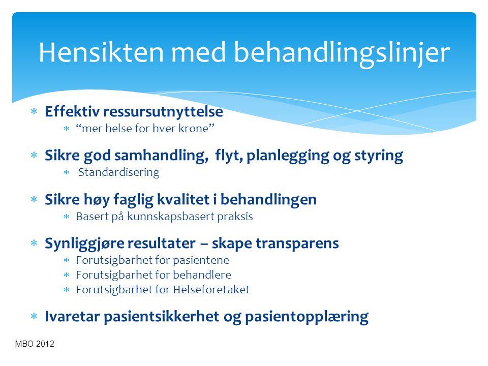 """ Effektiv ressursutnyttelse  """"mer helse for hver krone""""  Sikre god samhandling, flyt, planlegging og styring  Standardisering  Sikre høy faglig k"""