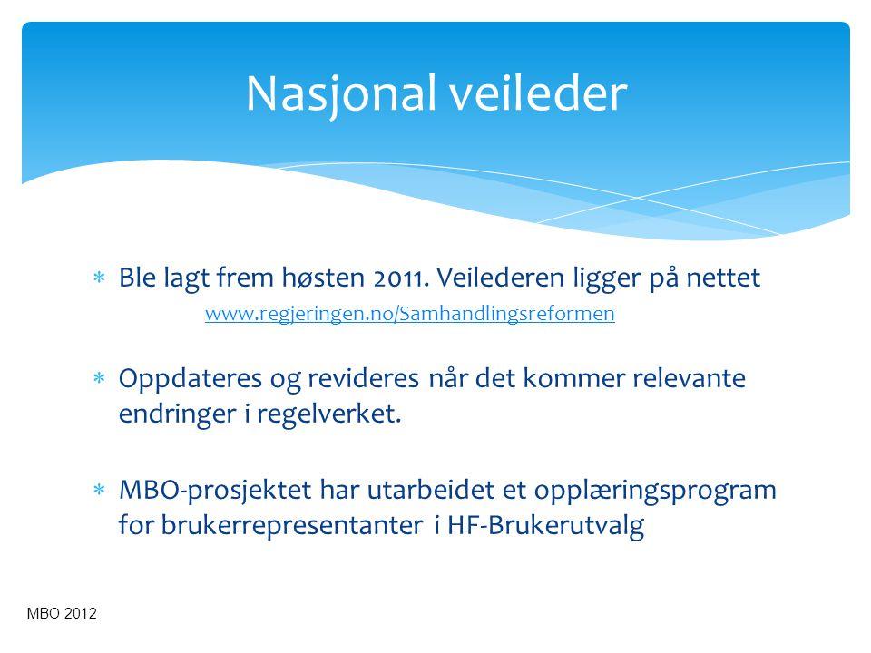  Ble lagt frem høsten 2011. Veilederen ligger på nettet www.regjeringen.no/Samhandlingsreformen  Oppdateres og revideres når det kommer relevante en
